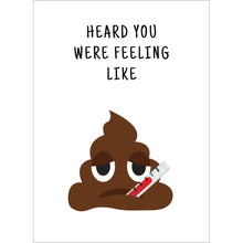 Load image into Gallery viewer, Feeling Like Poo Get Well Greeting Card 6 pack