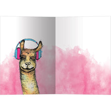 Load image into Gallery viewer, Llama In Tune All Occasion Greeting Card 6 pack