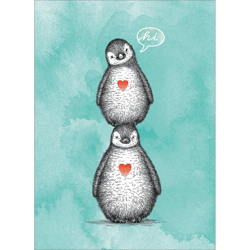 Penguin Pile Thinking of You Greeting Card 6 pack