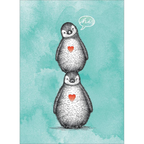 Send This Penguin Pile Thinking of You Card