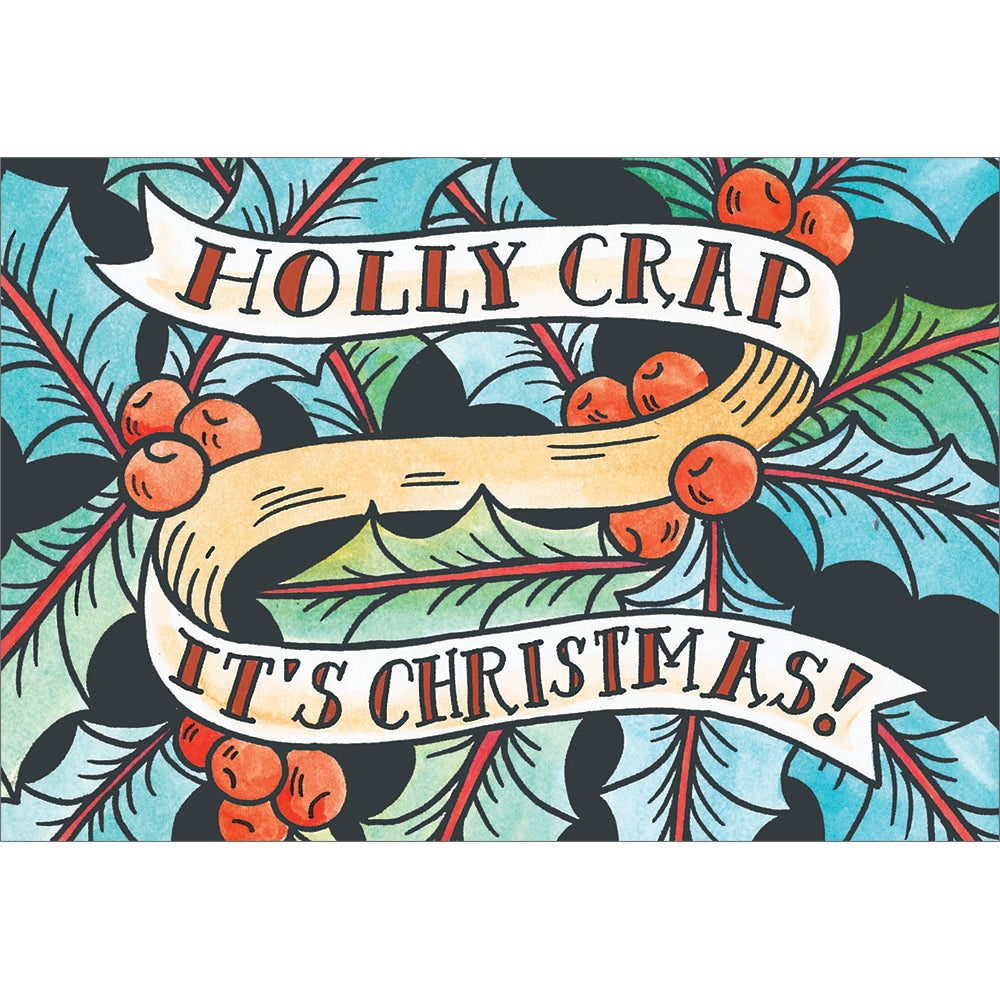 Holly Crap Christmas Greeting Card 4 pack