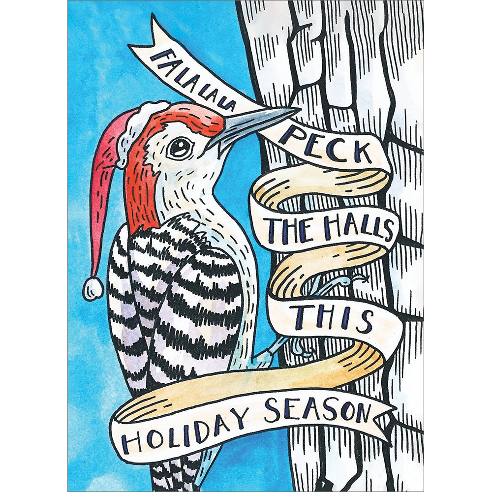 Peck The Halls Christmas Greeting Card 4 pack