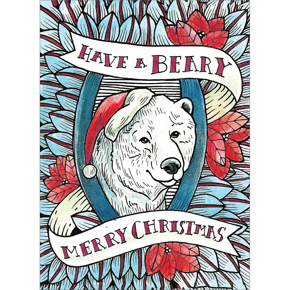 Beary Merry Christmas Christmas Greeting Card 4 pack