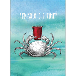 Red Solo Crab Birthday Greeting Card 6 pack