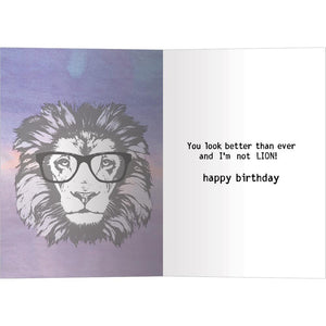 No Lion Birthday Greeting Card 6 pack