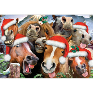 Horsing Around Holiday Christmas Greeting Card 4 pack