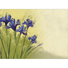 Load image into Gallery viewer, Irises On Green All Occasion Greeting Card 6 pack