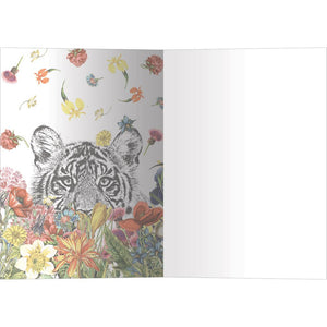 White Tiger Flowers All Occasion Greeting Card 6 pack