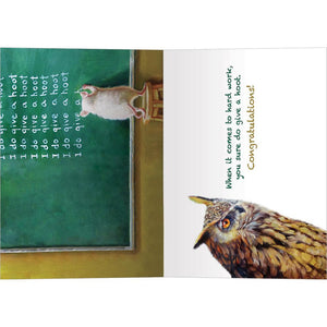 Give A Hoot Graduation Greeting Card 4 pack
