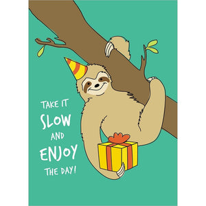 Slow Sloth Birthday Birthday Greeting Card 6 pack