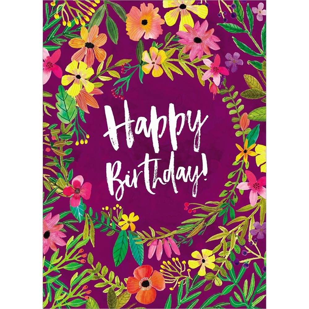 Purple Flower Birthday Birthday Greeting Card 6 pack