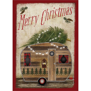 Rustic Camper Christmas Christmas Greeting Card 4 pack