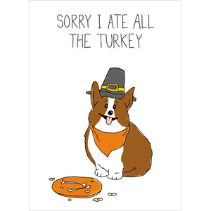 Corgi Turkey Fall & Thanksgiving Greeting Card 4 pack