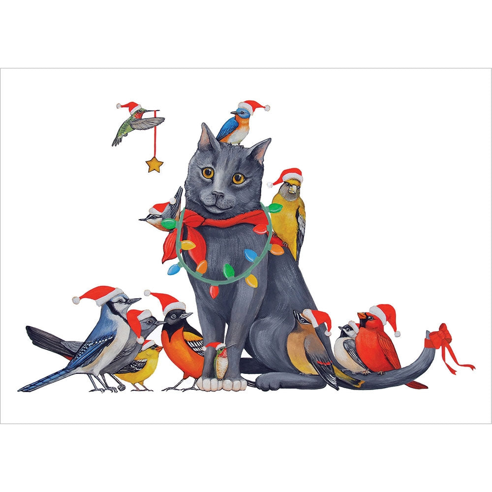 Cat Bird Christmas Christmas Greeting Card 4 pack