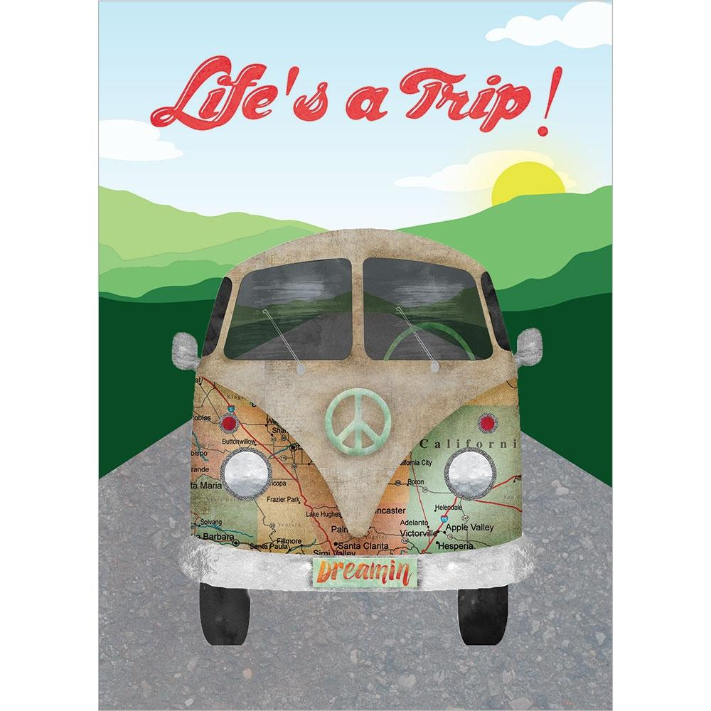 Life Trip Hippie Bus Birthday Greeting Card 6 pack