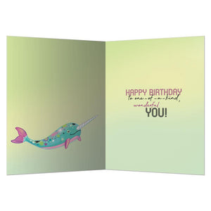 True To Yourself Narwhal Birthday Greeting Card 6 pack