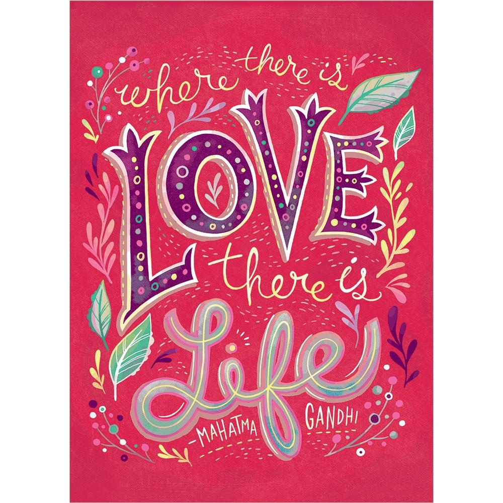 Love Is Life Birthday Greeting Card 6 pack
