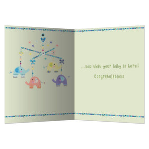 Elephant Mobile New Baby Greeting Card 6 pack