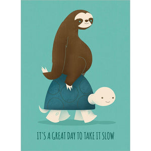 Sloth And Turtle Birthday Birthday Greeting Card 6 pack