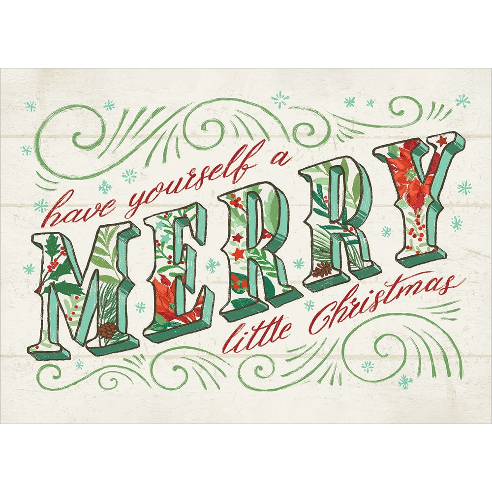 Merry Little Christmas Drawn Christmas Greeting Card 4 pack