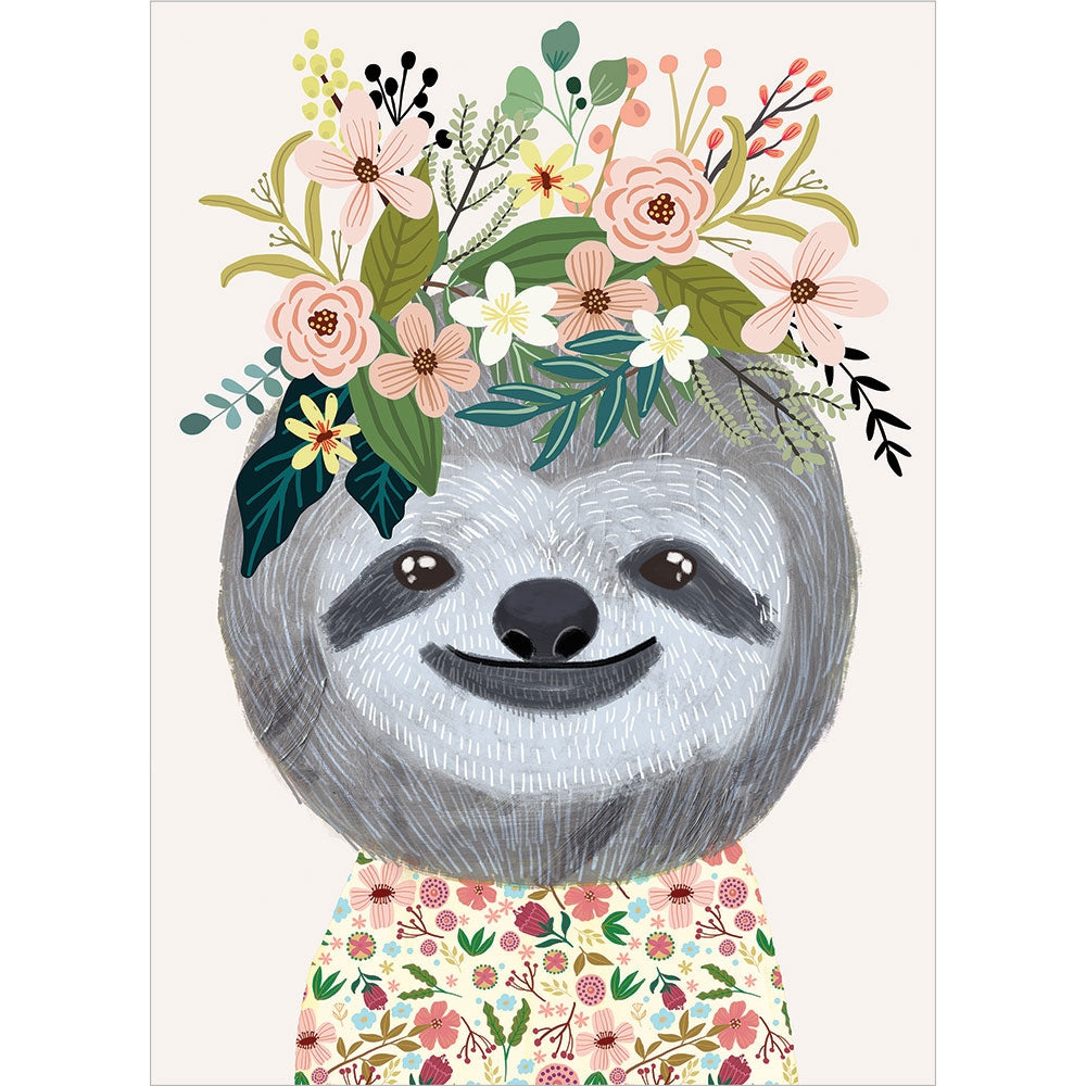 Happy Sloth All Occasion Greeting Card 6 pack