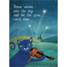 Load image into Gallery viewer, Night Music Cat Birthday Greeting Card 6 pack