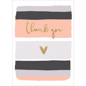 Coral and Gold Thanks Thank You Greeting Card 6 pack