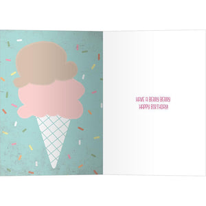 Freezer Ice Cream Birthday Greeting Card 6 pack