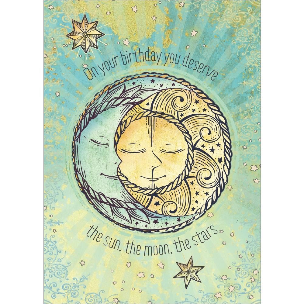 Sun Moon and Stars Birthday Greeting Card 6 pack