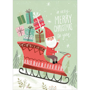 Cute Santa Sleigh Christmas Greeting Card 4 pack