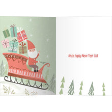 Load image into Gallery viewer, Cute Santa Sleigh Christmas Greeting Card 4 pack