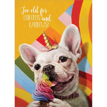 Load image into Gallery viewer, Unicorn And Rainbows Dog Birthday Greeting Card 6 pack