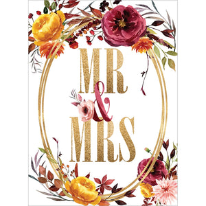 Gold Mr. And Mrs.  Wedding Greeting Card 6 pack