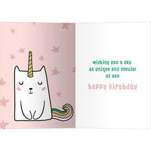 Load image into Gallery viewer, Magical Cat Unicorn Birthday Greeting Card 6 pack