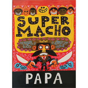 Macho Papa Father's Day Greeting Card 4 pack