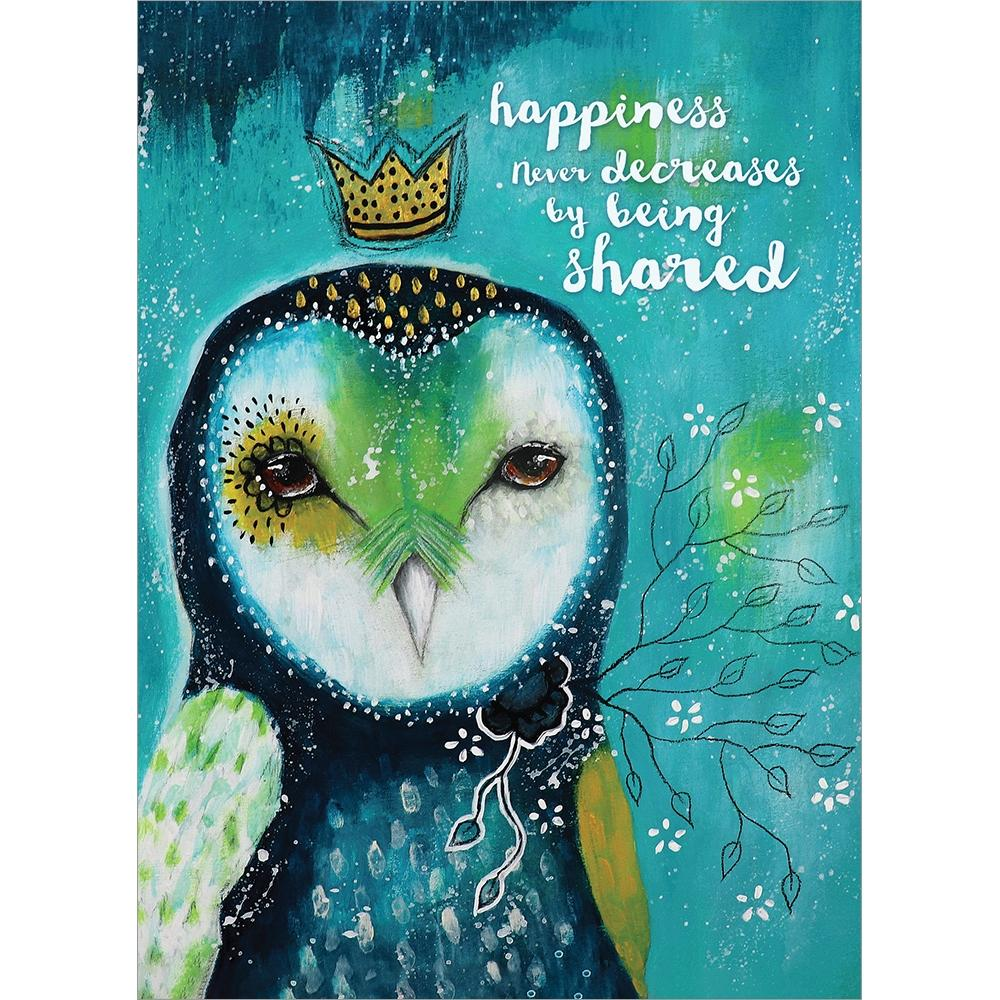 Happiness Owl Crown Birthday Greeting Card 6 pack
