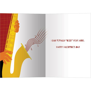 Sax Day Valentine's Day Greeting Card 4 pack