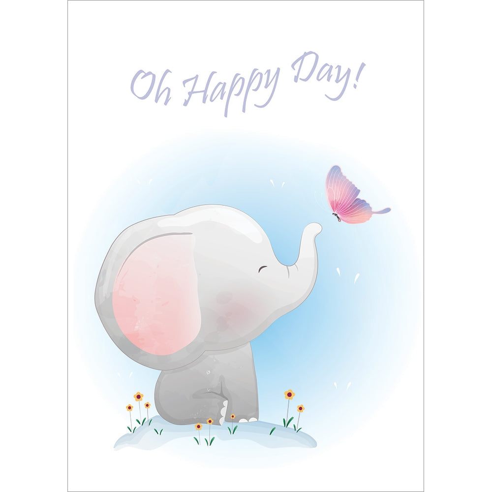 Happy Day Elephant New Baby Greeting Card 6 pack