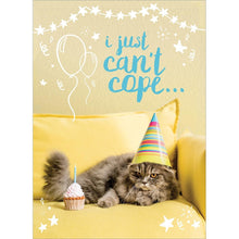Load image into Gallery viewer, Can't Cope Cat Birthday Greeting Card 6 pack