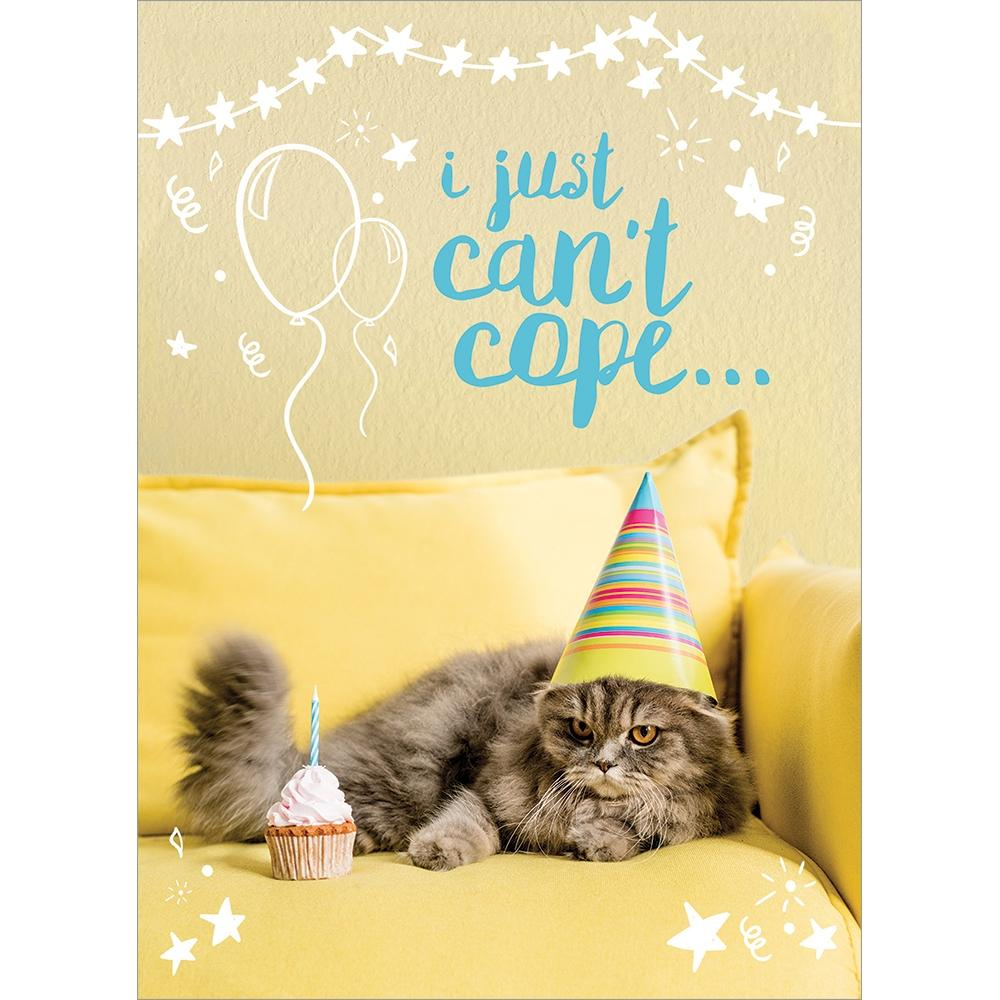 Can't Cope Cat Birthday Greeting Card 6 pack