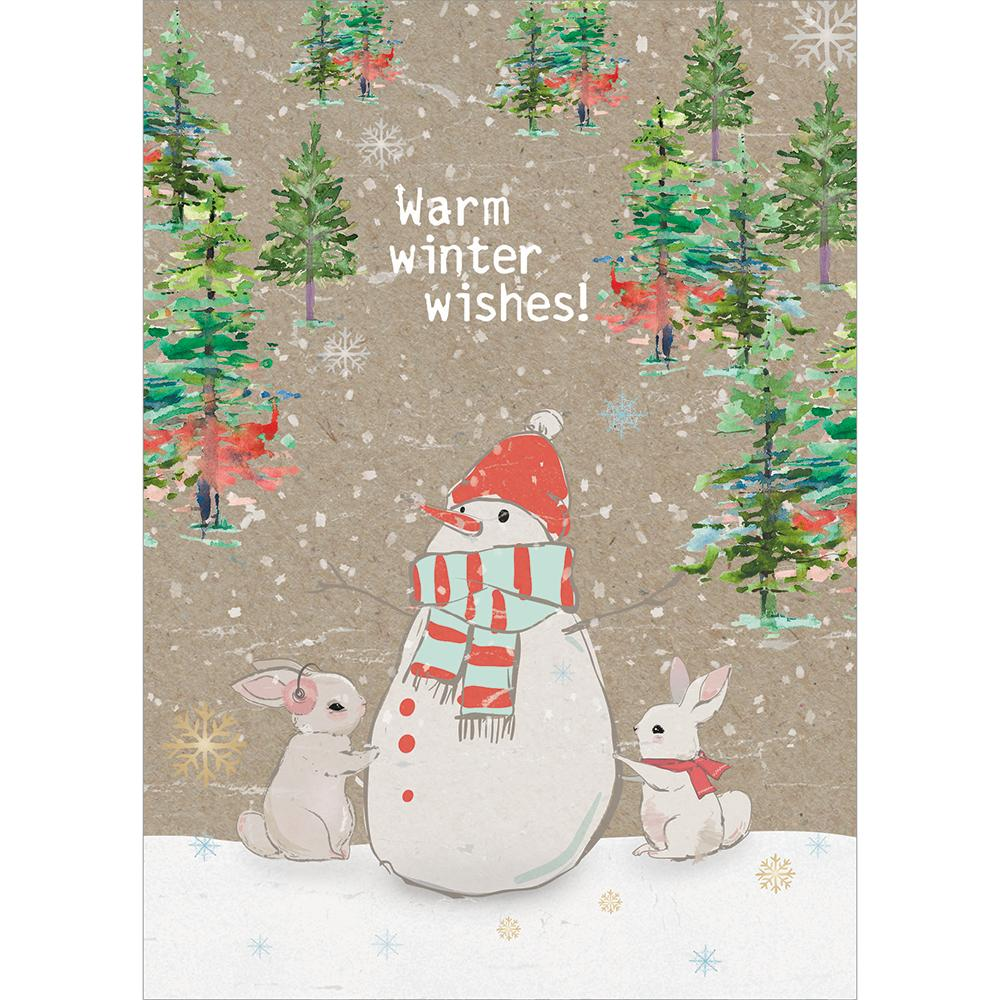 Warm Wishes Snowman Greeting Card 6 Pack