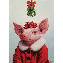 Load image into Gallery viewer, Pig Mistletoe Greeting Card
