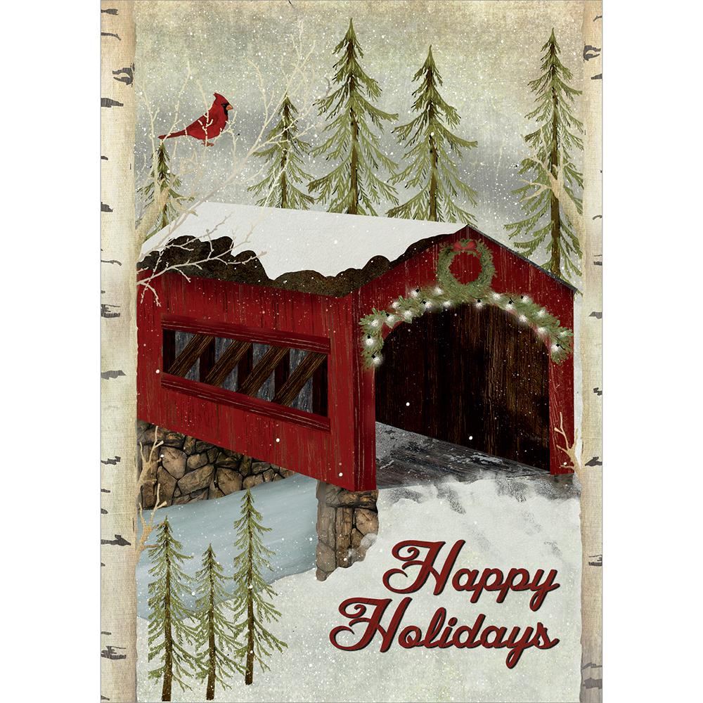 Snowy Covered Bridge Greeting Card 4 Pack