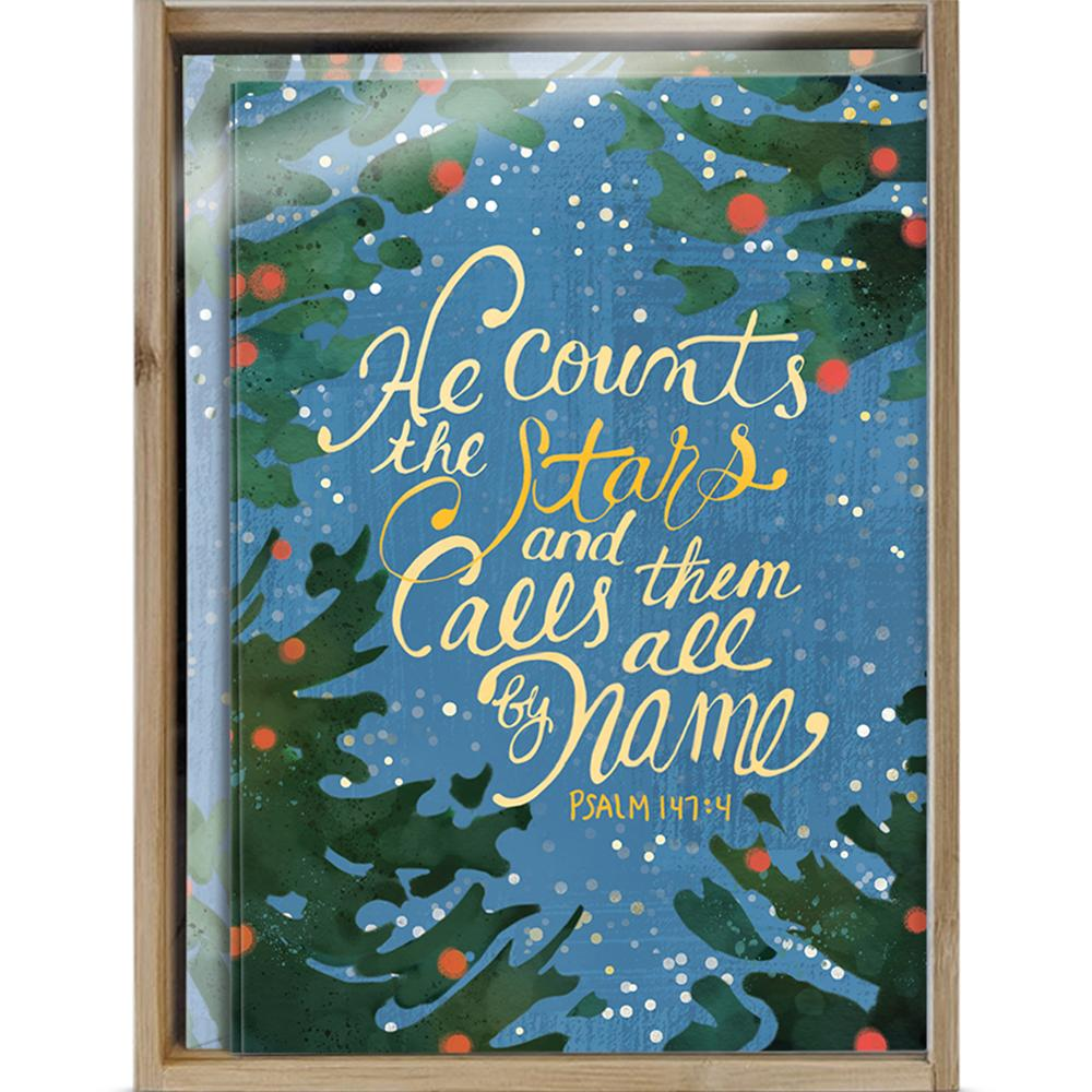 He Counts The Stars Bamboo Box 16 ct Christmas Greeting Card Set