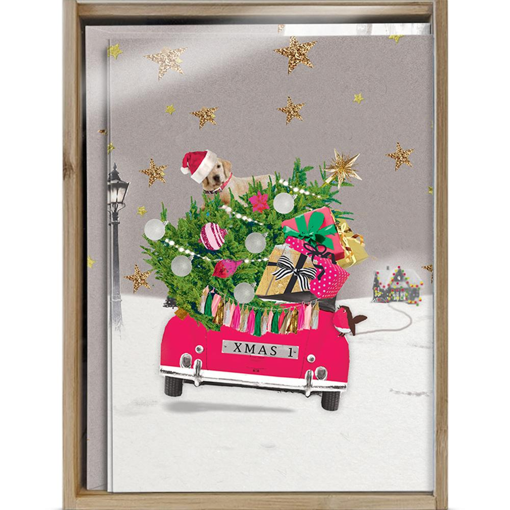 Headed Home Bamboo Box 16 ct Christmas Greeting Card Set