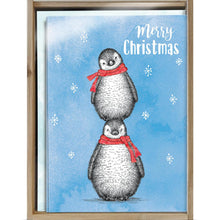 Load image into Gallery viewer, Boho Christmas Penguins Bamboo Box 16 ct Holiday Greeting Card Set