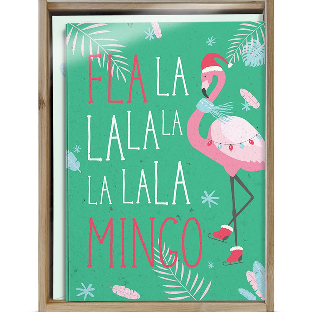 Fla La Mingo Bamboo Box 16 ct Holiday Greeting Card Set