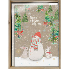 Load image into Gallery viewer, Warm Wishes Snowman Bamboo Box 16 ct Holiday Greeting Card Set