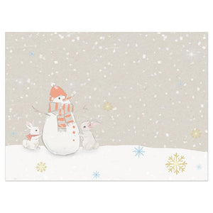 Warm Wishes Snowman Bamboo Box 16 ct Holiday Greeting Card Set