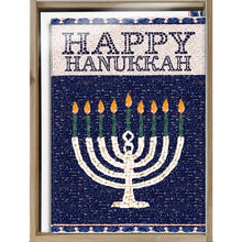 Load image into Gallery viewer, Jerusalem Mosaic Menorah Bamboo Box 16 ct Hanukkah Greeting Card Set